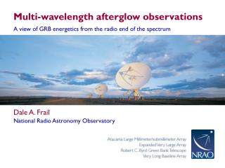 Multi-wavelength afterglow observations