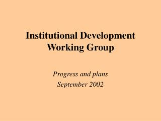 Institutional Development Working Group