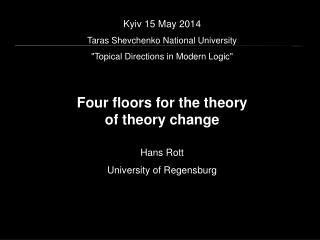 Kyiv 15 May 2014 Taras Shevchenko National University