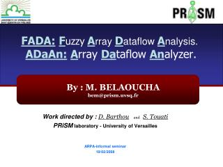 FADA: F uzzy A rray  D ataflow  A nalysis. ADaAn: A rray  Da taflow An alyzer.