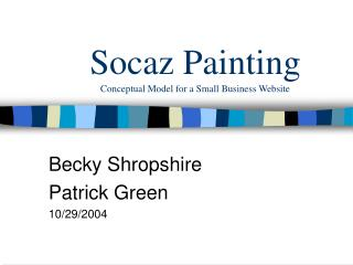 Socaz Painting Conceptual Model for a Small Business Website