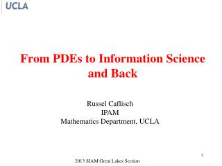 From PDEs to Information Science  and Back
