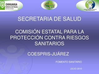 SECRETARIA DE SALUD COMISIÓN ESTATAL PARA LA PROTECCIÓN CONTRA RIESGOS SANITARIOS