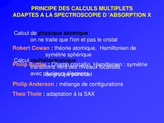 PRINCIPE DES CALCULS MULTIPLETS ADAPTES A LA SPECTROSCOPIE D 'ABSORPTION X
