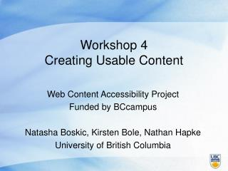Workshop 4 Creating Usable Content
