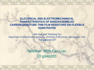 Speaker: Wen-Fan Liao ID:g946220