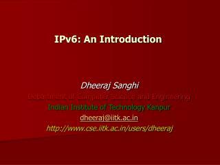 IPv6: An Introduction
