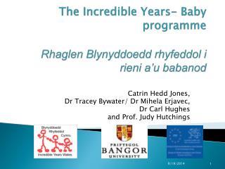 The Incredible Years- Baby  programme Rhaglen Blynyddoedd rhyfeddol i rieni a'u babanod