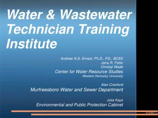 Water & Wastewater Technician Training Institute