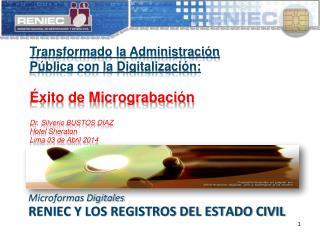 RENIEC Y LOS registros del estado civil