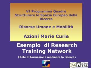 Esempio  di Research Training Network (Rete di formazione mediante la ricerca)