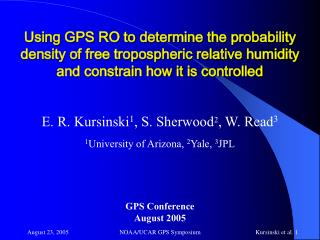 Using GPS RO to determine the probability density of free tropospheric relative humidity