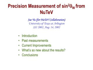 Precision Measurement of sin 2 q W  from NuTeV