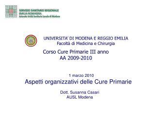 UNIVERSITA' DI MODENA E REGGIO EMILIA Facoltà di Medicina e Chirurgia
