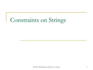 Constraints on Strings