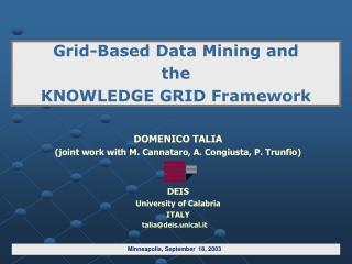 DOMENICO TALIA (joint work with M. Cannataro, A. Congiusta, P. Trunfio) DEIS