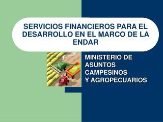 SERVICIOS FINANCIEROS PARA EL DESARROLLO EN EL MARCO DE LA ENDAR