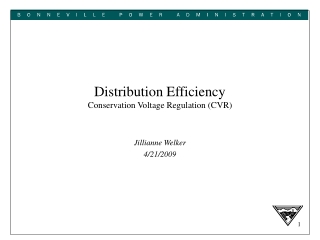 Distribution Efficiency Conservation Voltage Regulation CVR