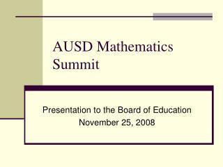 AUSD Mathematics Summit