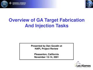Overview of GA Target Fabrication And Injection Tasks