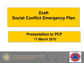 Draft   Social Conflict Emergency Plan