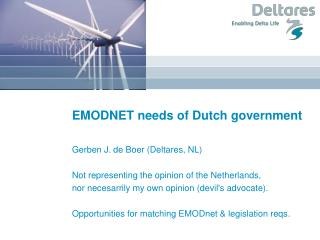 EMODNET needs of Dutch government