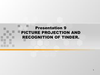 Presentation 9 PICTURE PROJECTION AND RECOGNITION OF TINDER.