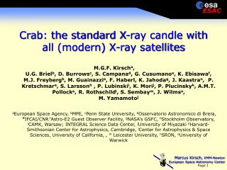 Crab: the standard X-ray candle with all (modern) X-ray satellites