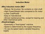 Induction Motor    Why induction motor IM   Robust; No brushes. No contacts on rotor shaft   High Power