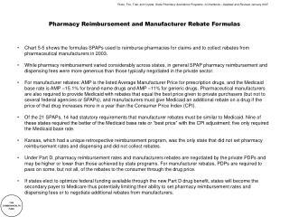 Pharmacy Reimbursement and Manufacturer Rebate Formulas