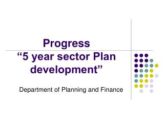 "Progress  ""5 year sector Plan development"""