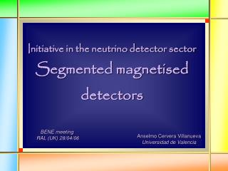 Initiative in the neutrino detector sector Segmented magnetised  detectors
