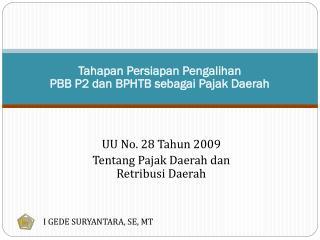 Tahapan Persiapan Pengalihan  PBB P2 dan BPHTB sebagai Pajak Daerah
