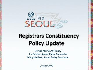 Registrars Constituency  Policy Update