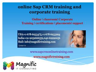 online Sap CRM training and corporate training