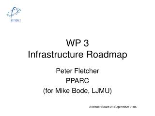 WP 3  Infrastructure Roadmap