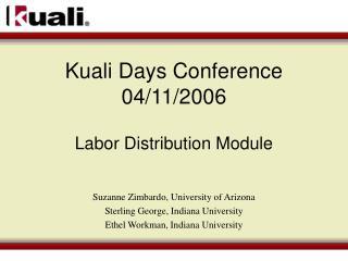 Kuali Days Conference 04/11/2006