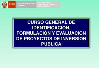CURSO GENERAL DE IDENTIFICACI�N, FORMULACI�N Y EVALUACI�N DE PROYECTOS DE INVERSI�N P�BLICA