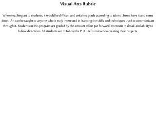 Visual Arts Rubric
