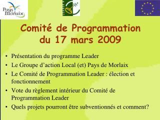 Comité de Programmation du 17 mars 2009