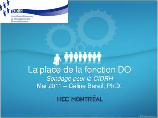 La place de la fonction DO Sondage pour la CIDRH Mai 2011 – Céline Bareil, Ph.D.