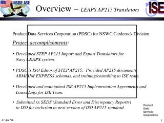 Overview �  LEAPS AP215 Translators
