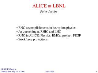 ALICE at LBNL
