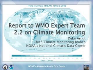 Report to WMO Expert Team 2.2 on Climate Monitoring