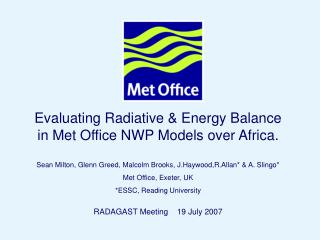 Evaluating Radiative & Energy Balance in Met Office NWP Models over Africa.