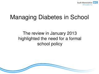 Managing Diabetes in School