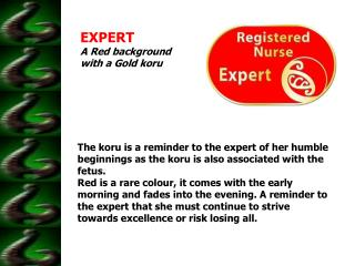 EXPERT A Red background with a Gold koru