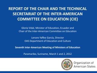 Gloria Vidal, Minister of Education, Ecuador and