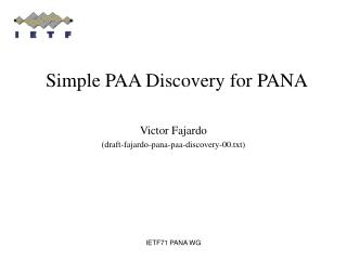 Simple PAA Discovery for PANA