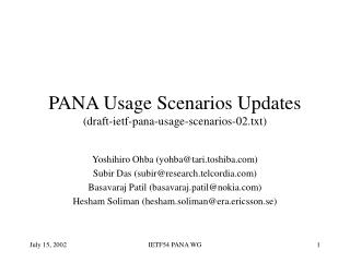 PANA Usage Scenarios Updates (draft-ietf-pana-usage-scenarios-02.txt)
